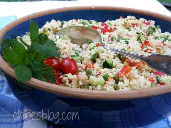 Couscous salad recipe from innkeeper at Big Mill B&B | https://chloesblog.bigmill.com/couscous-salad-its-good-for-you/