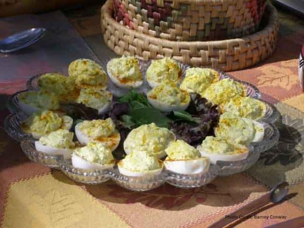Deviled Egg plate at Dinner on the grounds | https://chloesblog.bigmill.com/church-picnic-in-eastern-north-carolina/