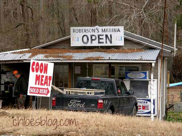 Roberson's Marina on Gardner's Creek sells Raccoon meat