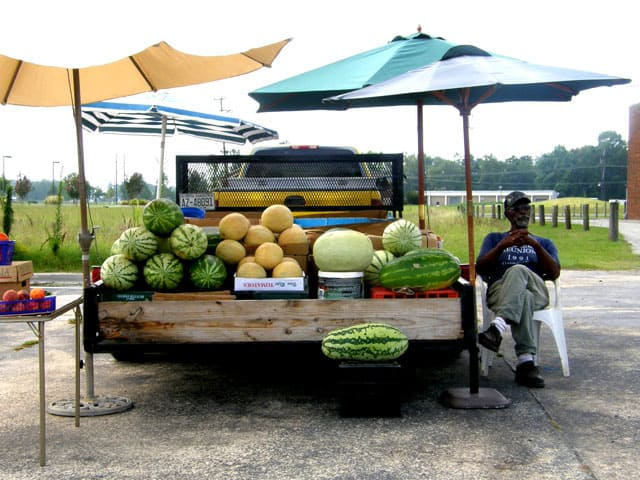 Watermelons by the road side in eastern North Carolina near Big Mill BB @BigMil | https://chloesblog.bigmill.com/fruit-stands-and-pick-up-trucks