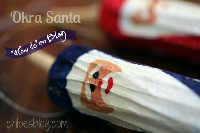 DIY Christmas Okra Santa photo from innkeeper at Big Mill B and B | https://chloesblog.bigmill.com/okra-santa-ornaments-from-the-garden-at-big-mill/