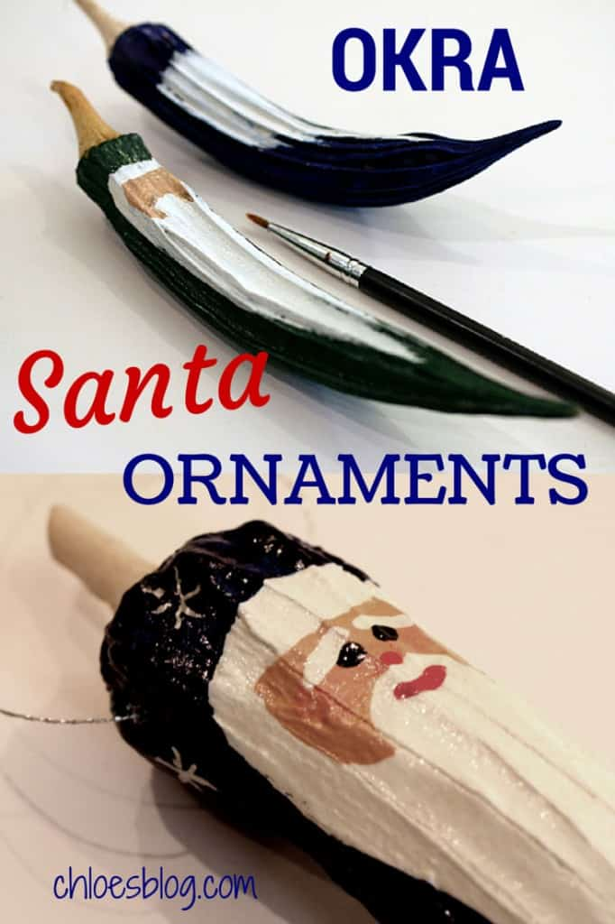 Painted okra santa photo - Handmade Christmas Santa ornaments from dried Okra make fabulous gifts. They are great DIY projects with the family and cost very little to make. These precious Santas keep for years. | https://chloesblog.bigmill.com/okra-santa-ornaments-from-the-garden-at-big-mill/