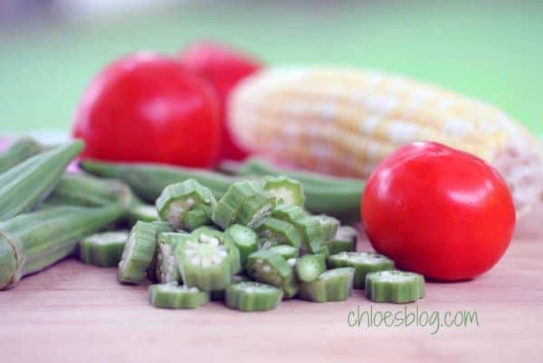 Nothing is more down home and southern than this recipe for Corn, Okra and Tomatoes. It's easy and so good for you. | @bigmill | Recipe on Chloes Blog - https://chloesblog.bigmill.com/innkeeper-recipe-with-okra-corn-tomatoes/