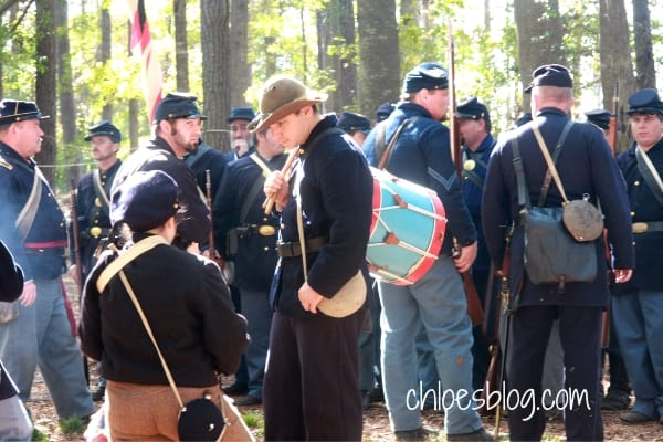 Photo of Reenactors in Civil War Battle of Ft Branch, near Hamilton, NC