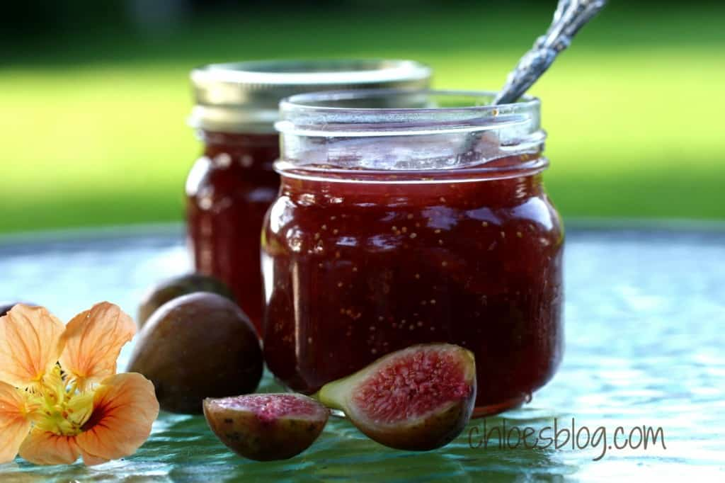 Easy, homemade Fig Jam recipe with fresh figs from the farm (or your local Farmer's Market) is a favorite of guests at Big Mill Bed and Breakfast, near Greenville, NC. Uses less sugar and is Southern comfort food in a jar! | @bigmill | www.chloesblog.bigmill.com/homemade-fig-jam-recipe-has-less-sugar