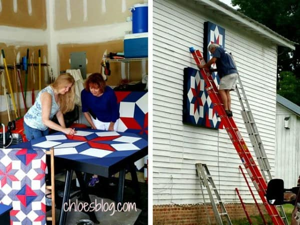 Working on the NC Barn Quilt -- Miss Chloe's LaMoyne Star -- for Big Mill B and B near Greeville @BigMill | www.chloesblog.bigmill.com/big-mill-nc-barn-quilt-tar-river-quilt-trail