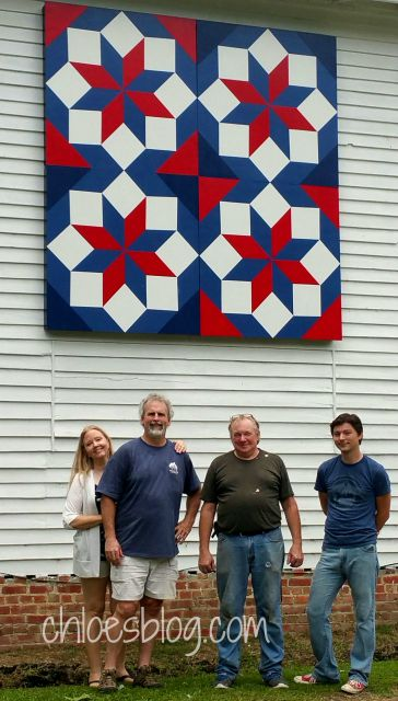 Eastern NC Barn Quilt crew working at Big Mill B and B in Williamston, NC @BigMill | www.chloesblog.bigmill.com/big-mill-nc-barn-quilt-tar-river-quilt-trail