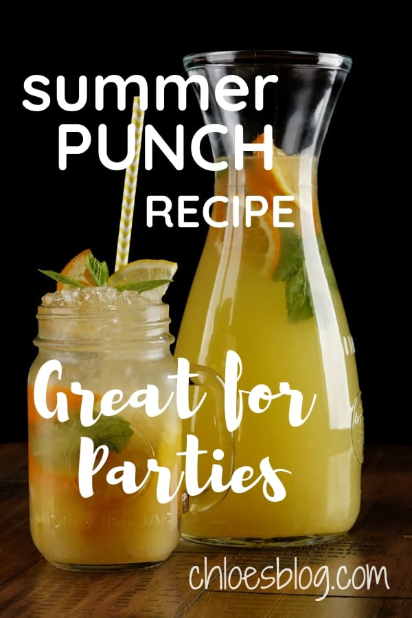 Make this easy and refreshing Summer Punch Recipe early and be ready for those summer parties. Float sliced fruit and garnish with mint sprigs.