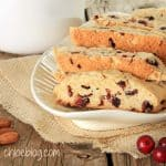 Freshly baked almond and cranberry biscotti. Get recipe on Chloe's Blog