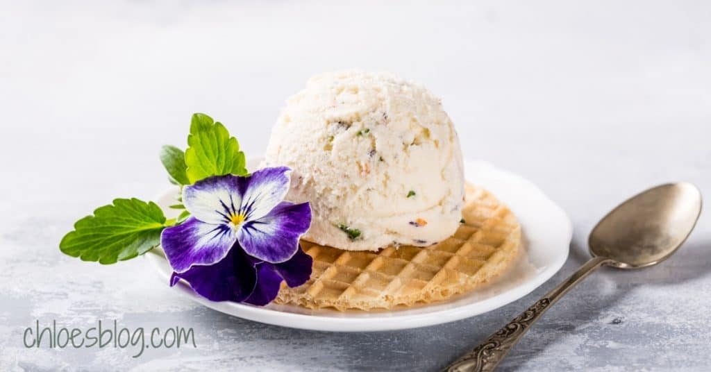 photo of ice cream and edible flower from Chloe Tuttle