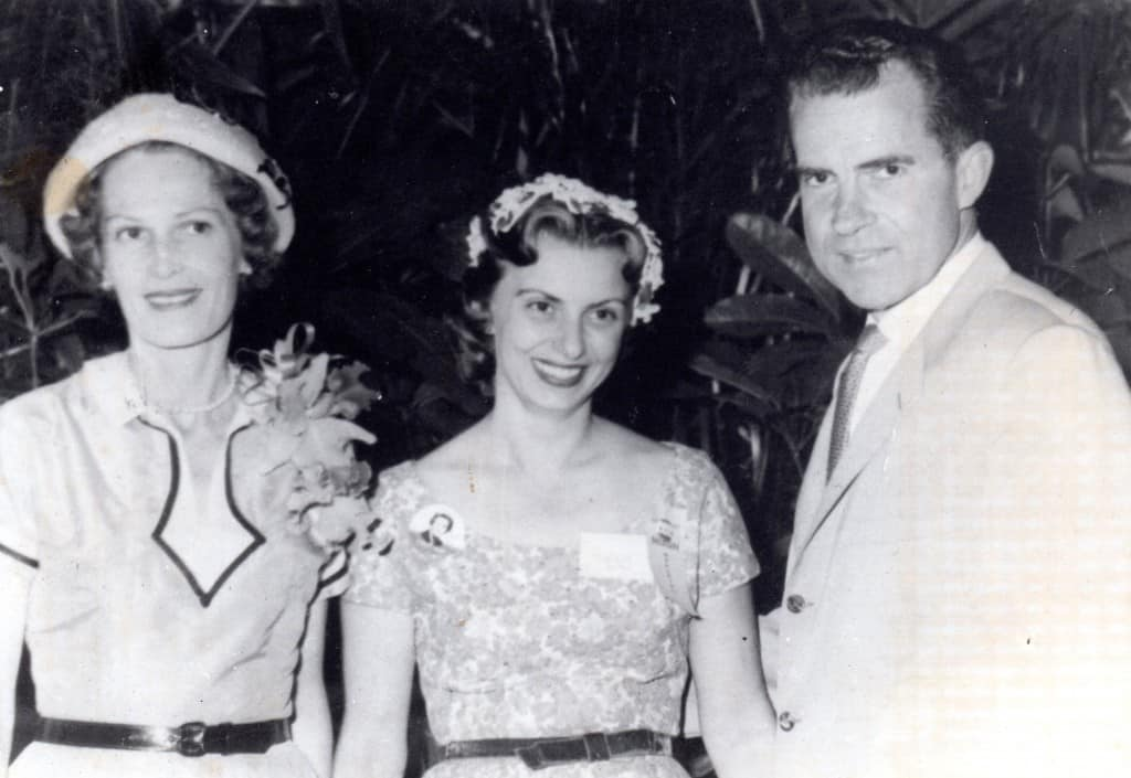 Pat Nixon, Ginny Tuttle, Richard Nixon during Eisenhower campaign