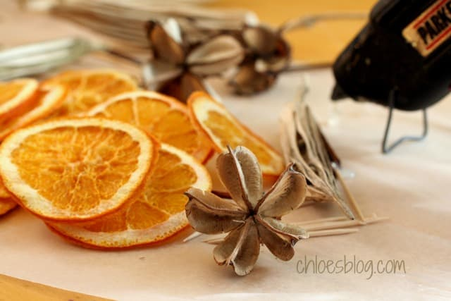 Learn how to dry orange slices as decorations for a handmade cork wreath | chloesblog.bigmill.com