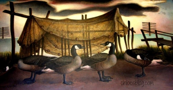 In many post offices and public buildings across the US, you'll find spectacular murals painted on the walls. This is a WPA mural of Goose Decoys in Beaufort, North Carolina | www.chloesblog.bigmill.com/post-office-murals-nc