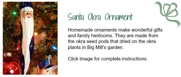 Complete instructions for making these charming Okra Santa Ornaments from Big Mill Bed and Breakfast. They are wonderful crafts for Christmas ornaments and make great gifts. | chloesblog.bigmill.com/okra-santa-ornaments-from-the-garden-at-big-mill/