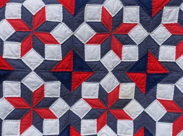 Inspiration for the Big Mill Barn Quilt is the LaMoyne Star quilt made by the innkeeper's mother and her quilting circle during the USA's Bicentennial celebration in 1976. See more about the Quilt block and Barn Quilts on Chloe's blog. |The barn quilt design is drawn and painted on blocks before mounting onto the barn at Big Mill B&B | @bigmill www.chloesblog.bigmill.com/big-mill-bed-breakfast-barn-quilt-williamston-nc