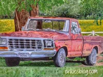 photo of Old Red Truck on the farm at Big Mill B&B