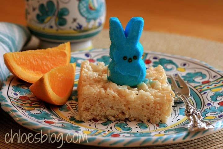 Rice Krispies Treats with Peeps for breakfast at Big Mill B&B | http://chloesblog.bigmill.com/love-affair-with-peeps/